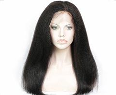 Kinky Straight Virgin Hair Lace Frontal Wig