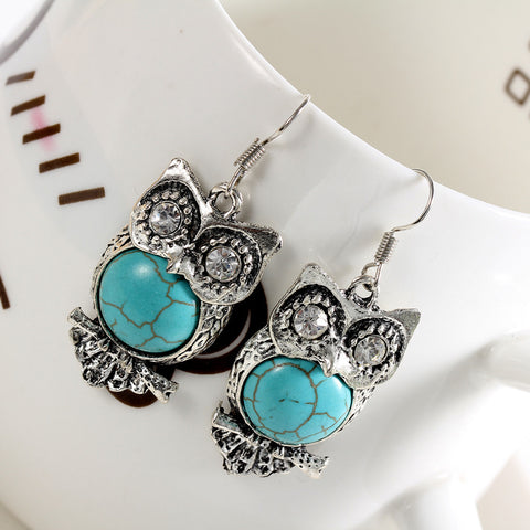 Owl Tibetan Silver Earring With Turquoise Stone