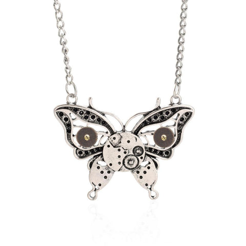 Retro Steampunk Butterfly Necklace