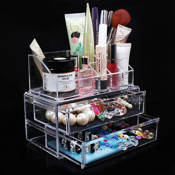 Portable Transparent Acrylic Cosmetic Organizer Drawer Makeup Case Storage Insert Holder Box