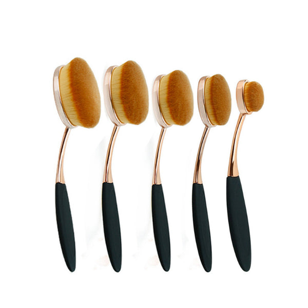 5 Pieces Rose Gold Oval Brush Set