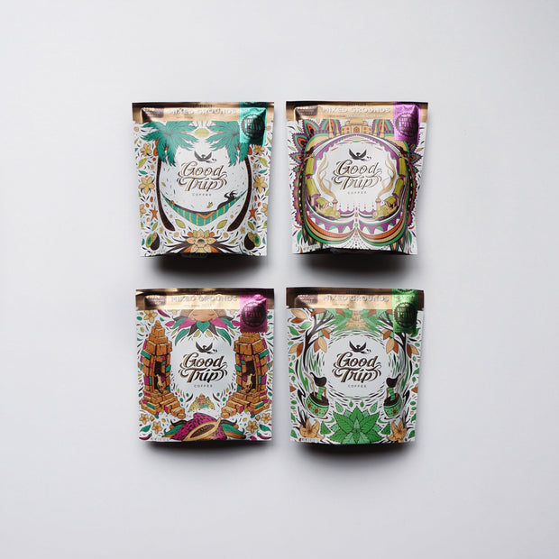 good trip coffee infusion sampler set mixed grounds