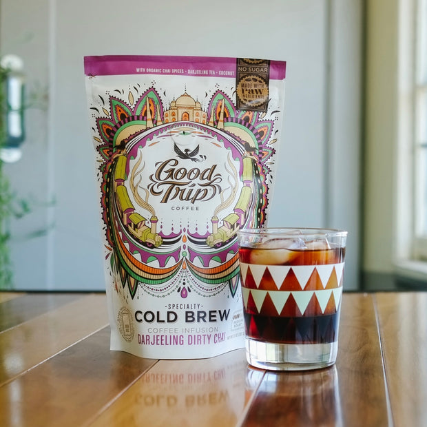 Good Trip organic coffee infusion darjeeling dirty chai cold brew in glass