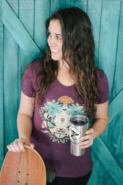 woman wearing good trip coffee trippy mandala women's tee holding cold brew
