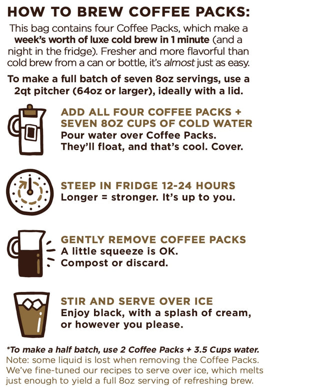 brewing instructions from back of package for good trip cold brew compostable coffee packs