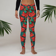woman wearing wild orchid leggings with white background