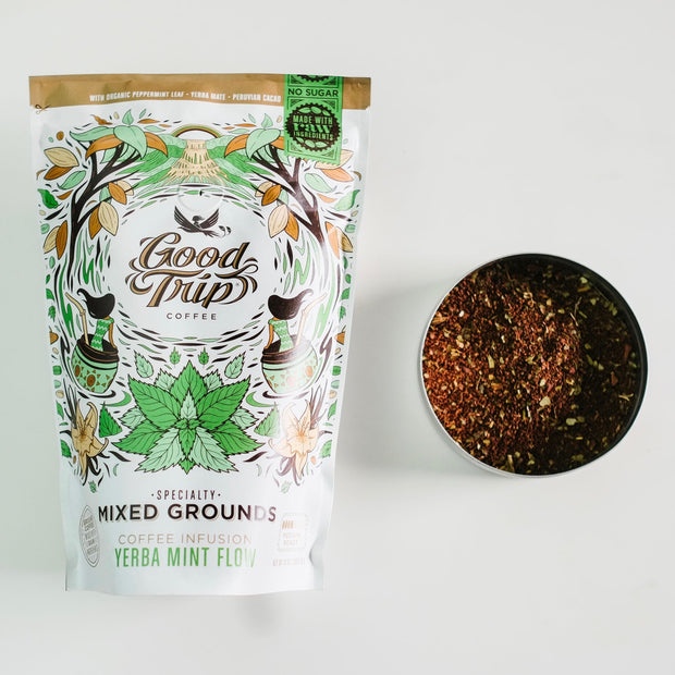 good trip coffee yerba mint flow mixed grounds