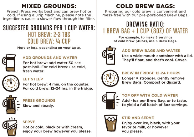 brewing instructions from back of package for good trip coffee cold brew compostable brew bags and mixed grounds