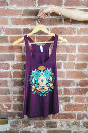 good trip coffee trippy mandala racerback tank on hanger against brick wall