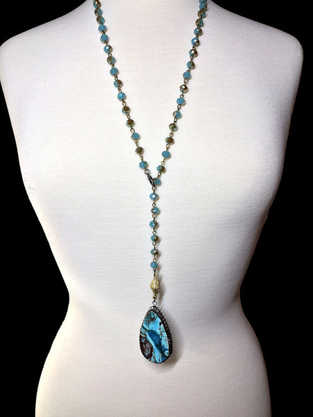 Blue Agate Necklace - Maggie and Mae