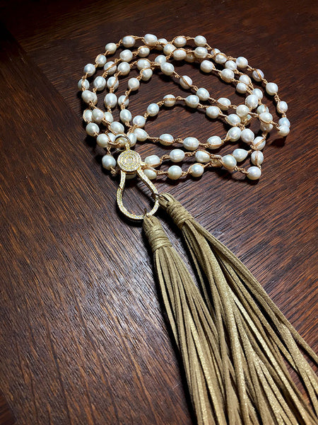 Freshwater Pearls with Metallic Tassels - Maggie and Mae