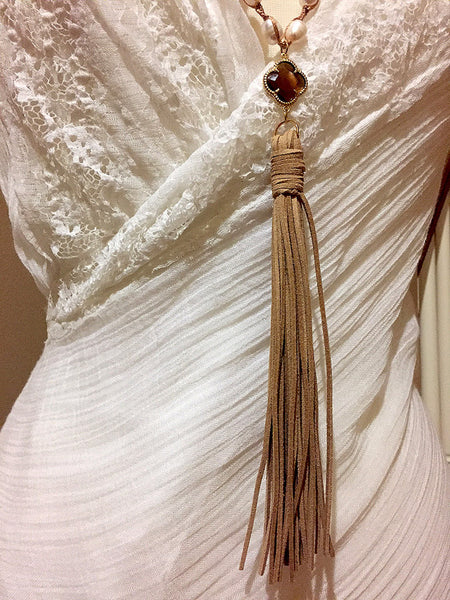 Pearl Necklace with Brown Suede Tassel - Maggie and Mae