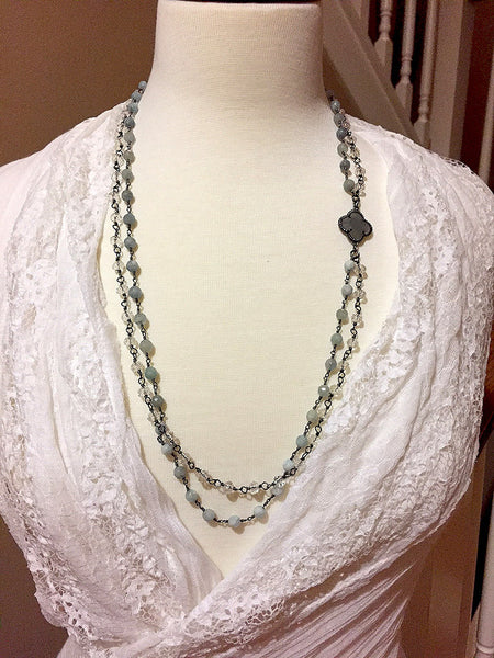 Double Strand Agate and Crystal Necklace - Maggie and Mae