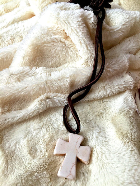 Cross and Leather Necklace - Maggie and Mae