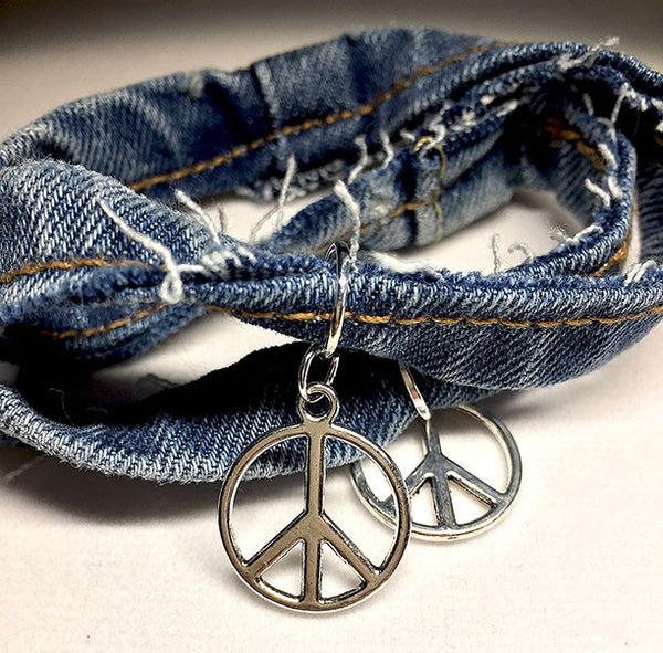 Denim Peace Bracelet - Maggie and Mae