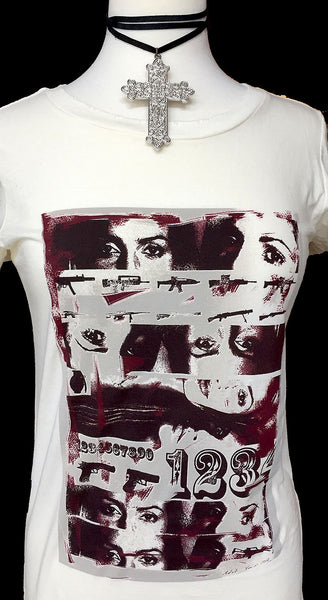 "Distressed Designer T-Shirt - ""Coy"" - Maggie and Mae"