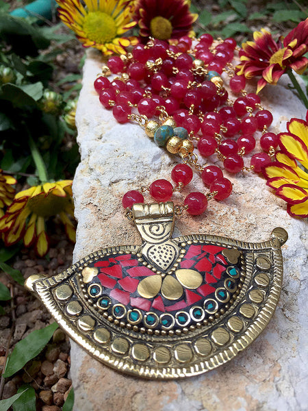 Red Jade with Brass Pendant - Maggie and Mae
