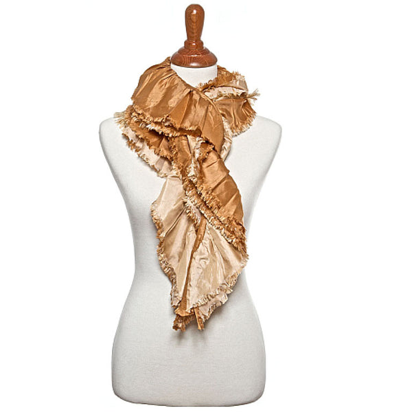 Gold and Taupe Oblong Scarf - Maggie and Mae