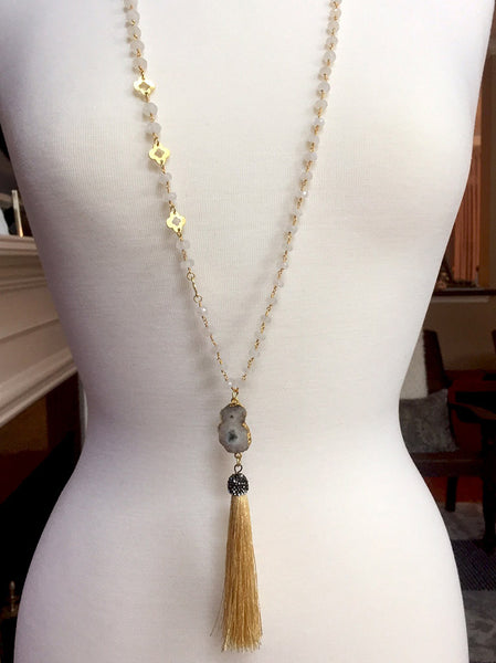 Moonstone with Gold Pave' Tassel Necklace - Maggie and Mae