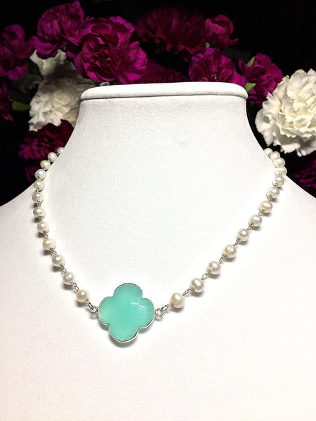 Chalcedony Clover and Freshwater Pearls Necklace - Maggie and Mae