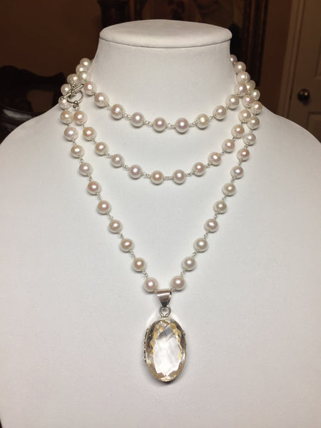 Pearl Necklace with Sterling Silver and Quartz Pendant - Maggie and Mae