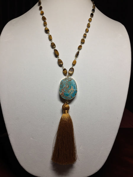 Tiger's Eye Necklace with Jasper and Tassel. - Maggie and Mae