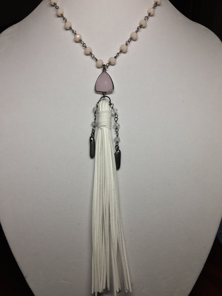 Pink Chalcedony Necklace with White Leather Tassel - Maggie and Mae