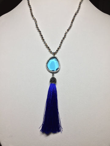 Blue Silk Pave' Tassel Necklace - Maggie and Mae