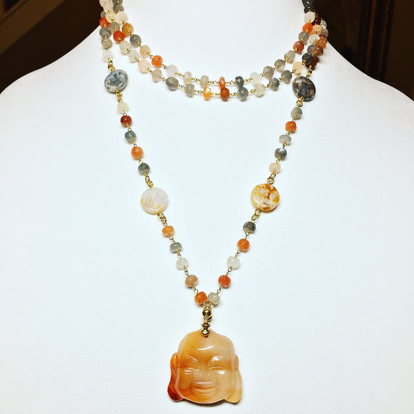 Multicolored Moonstone Buddha Necklace - Maggie and Mae
