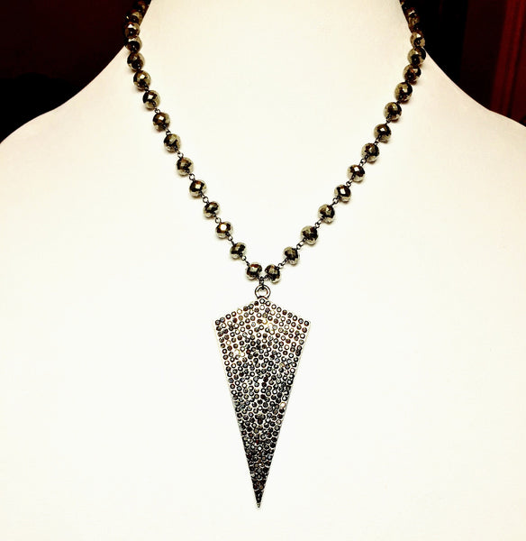 Pavé Arrow and Pyrite Necklace - Maggie and Mae