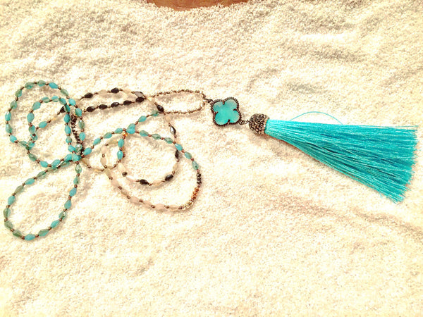 Hand knotted with Clover and Turquoise Tassel - Maggie and Mae