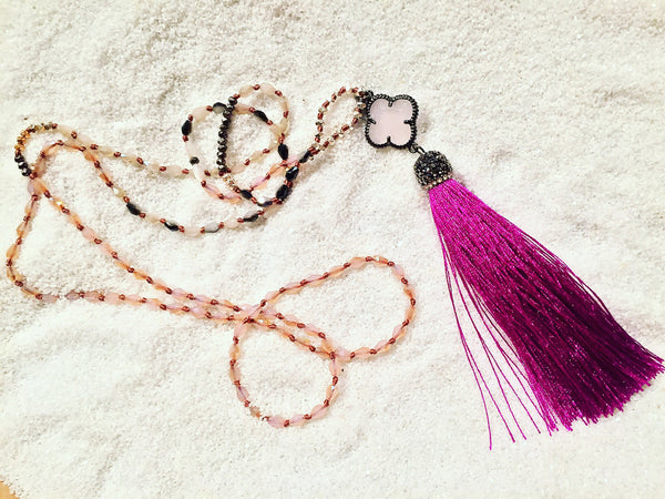 Hand knotted with Fuchsia Tassel - Maggie and Mae