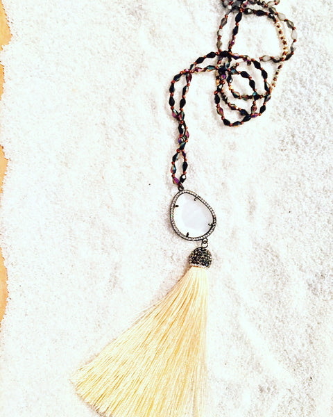 Yellow Silk Pave' Tassel Necklace - Maggie and Mae