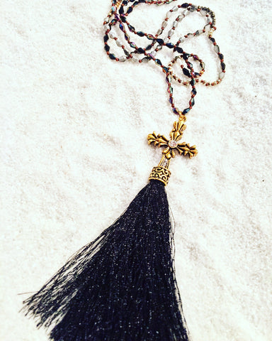 Gold Cross with Black Tassel Necklace - Maggie and Mae