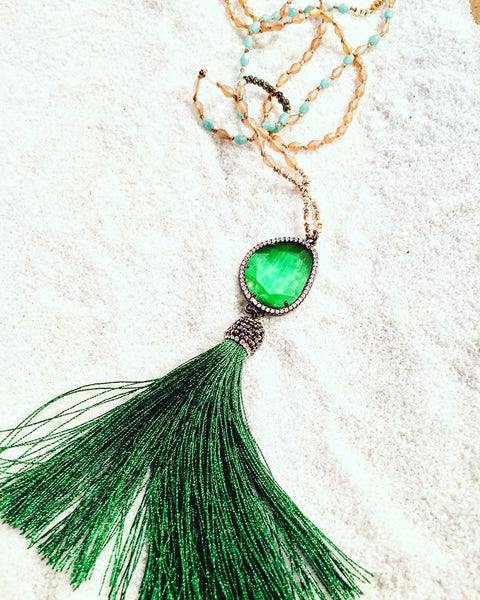 Green Pave' Tassel Necklace - Maggie and Mae