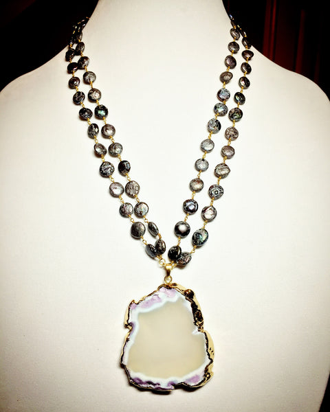 Black Pearls and Agate Necklace - Maggie and Mae