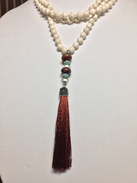 Howlite and Tassel Necklace - Maggie and Mae
