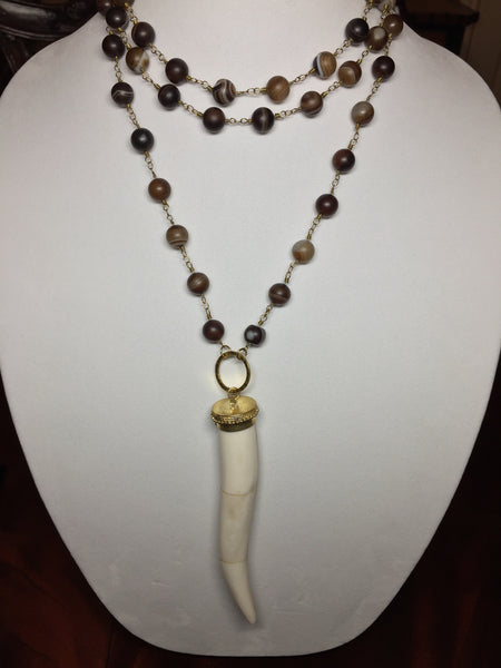 Botswana Agate with White Bone Pendant Necklace - Maggie and Mae