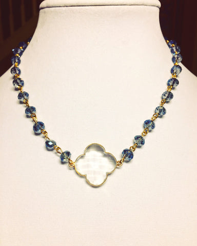 Blue and Gold Clover Necklace - Maggie and Mae