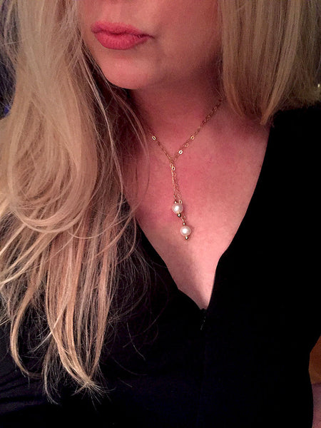 Gold and Freshwater Pearl Lariat Necklace - Maggie and Mae