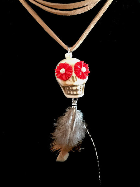 Sugar Skull Leather Necklace with Feathers - Maggie and Mae
