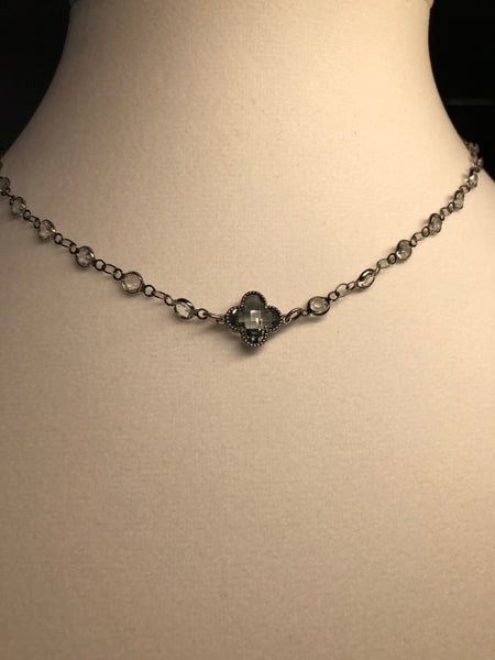 Grey Cushion Cut Clover on Crystal Chain - Maggie and Mae