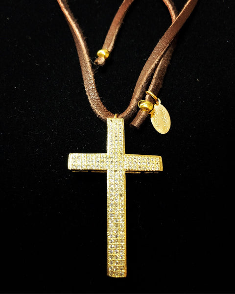 Pave' Gold Cross on Leather Choker - Maggie and Mae