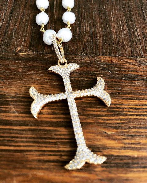 Cross and Pearls Necklace - Maggie and Mae
