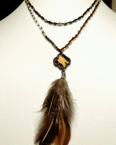 Brown Clover and Feather Necklace - Maggie and Mae