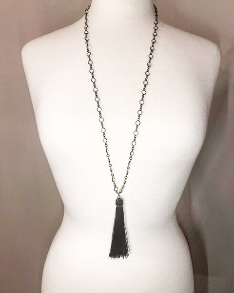 Black Silk Pave' Tassel with Crystal Necklace - Maggie and Mae