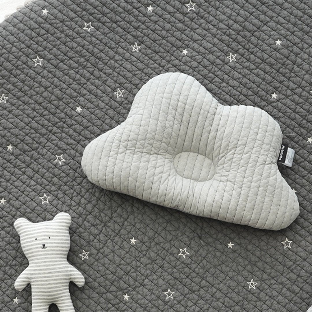 Quilted Cloud Pillow + Mellow Gauze Blanket set - Solid Gray