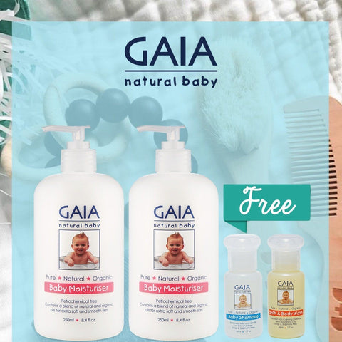 GAIA Bundle set - Baby Moisturiser 250ml TWIN pack + complimentary gifts