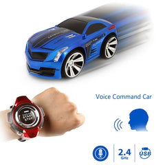 2.4GHz Mini RC Car Voice Command Car Smart Watch Remote Control Sports Car Toy(Blue)
