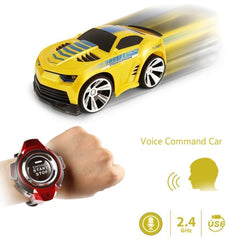 2.4GHz Mini RC Car Voice Command Car Smart Watch Remote Control Sports Car Toy(Yellow)